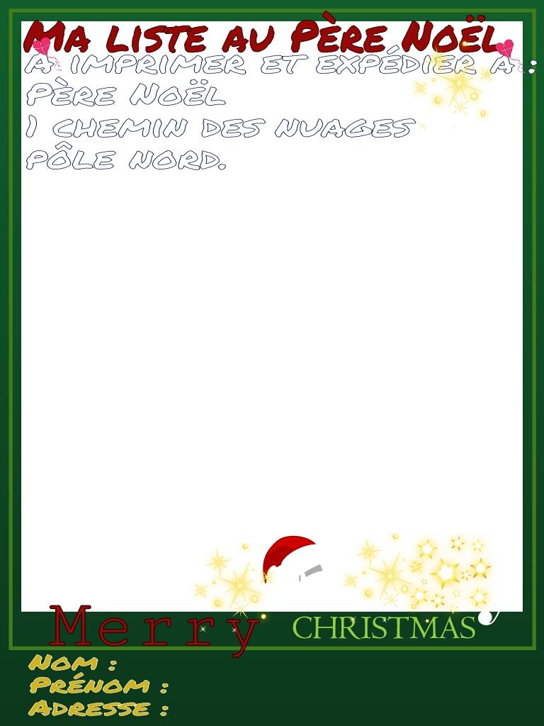 Carte virtuelle : Ma liste au Père Noël.