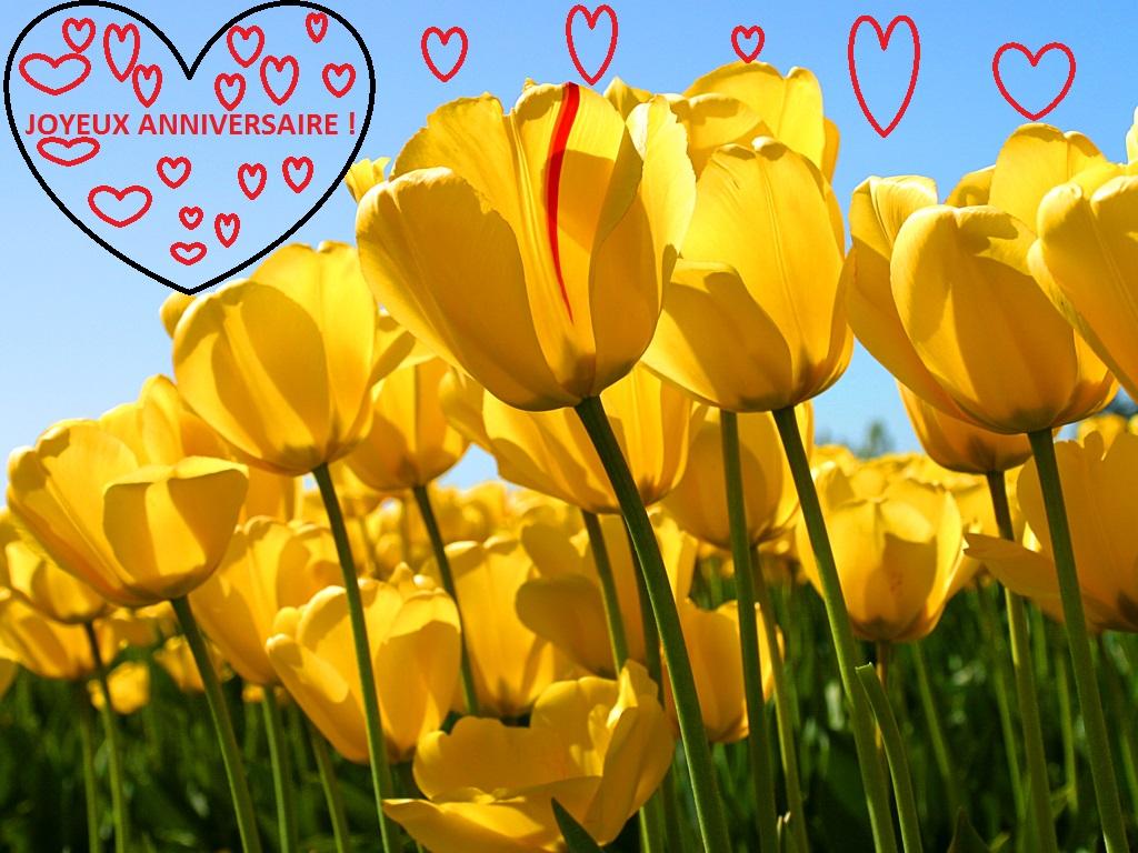 Felice compleanno con tulipani e cuori ( in francese )